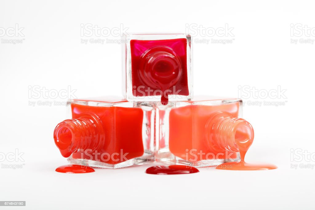 Stack Of Red Nail Polish Isolated On White Background stock photo ...