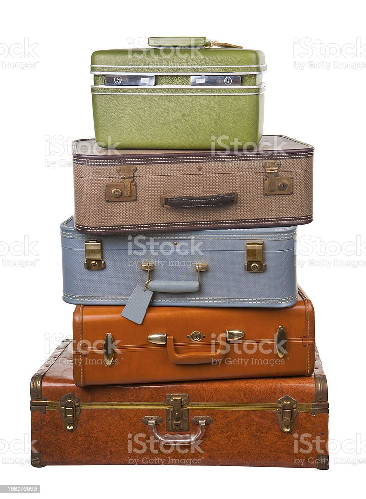 stack of retro luggage stock photo