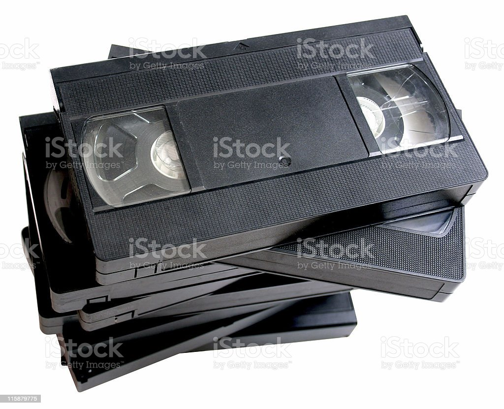 Stack of retro VHS video cassette tapes royalty-free stock photo