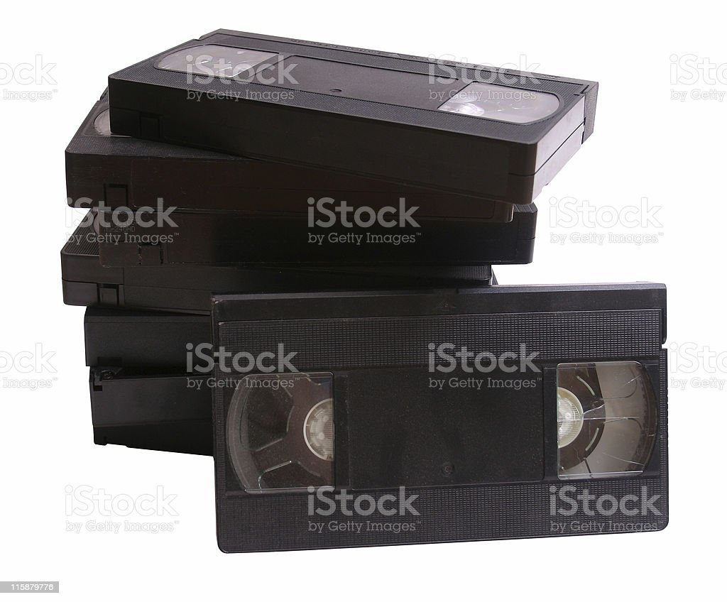 Stack of retro VHS video cassette tapes stock photo