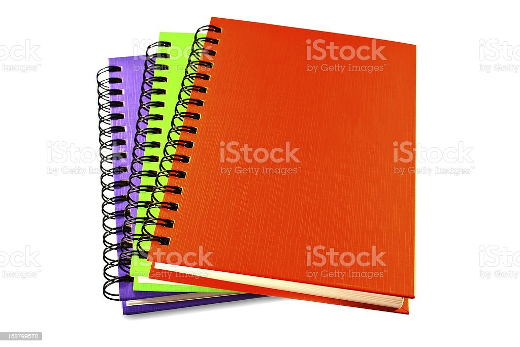 stack of ring binder book or notebook isolated on white royalty-free stock photo