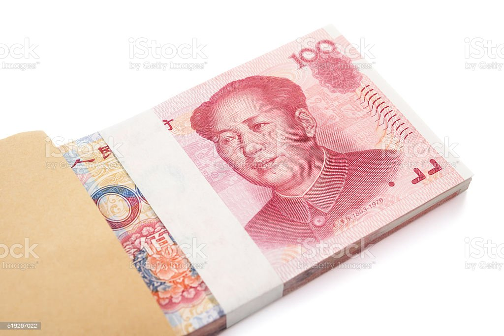 stack of RMB paper currency in an envelope with path stock photo