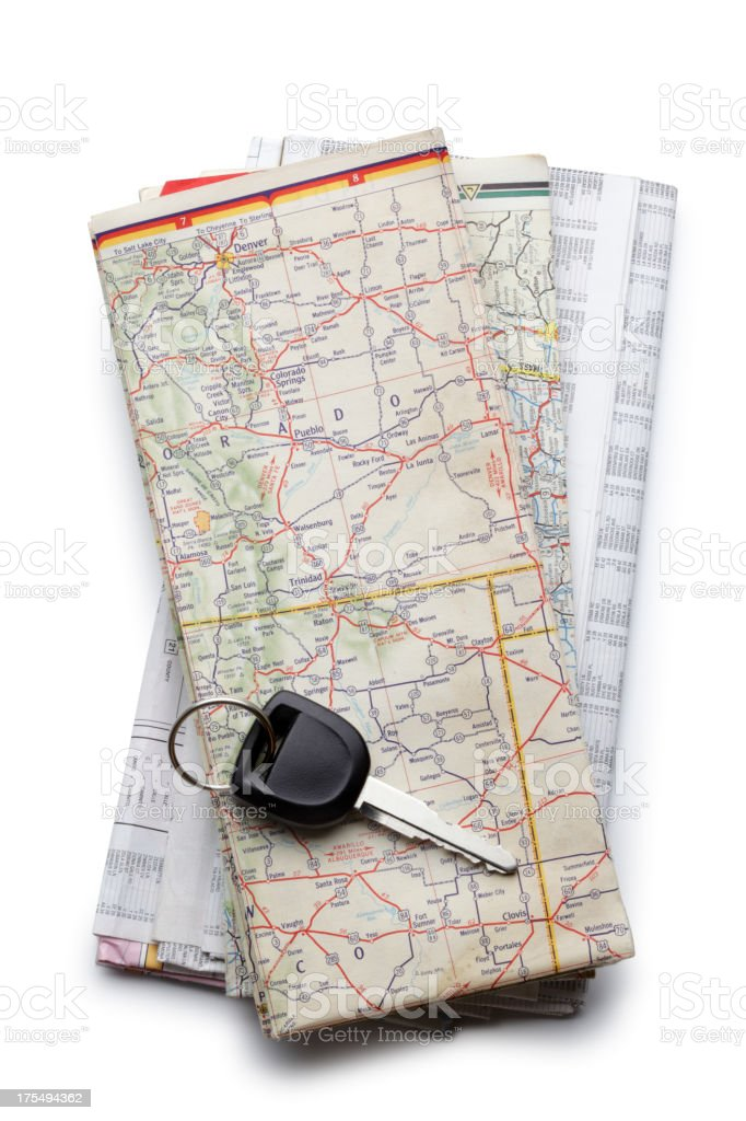 Stack of Road Maps royalty-free stock photo