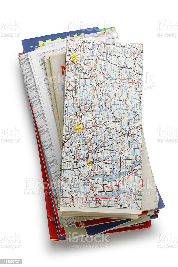 Stack of Road Maps stock photo