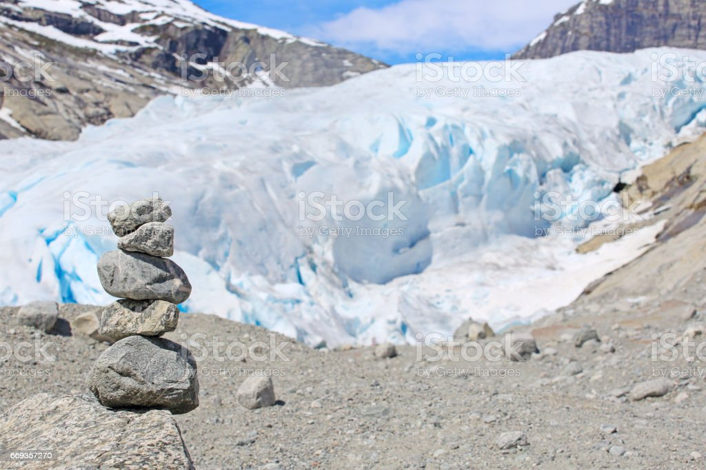 Stack of rocks in Norway stock photo