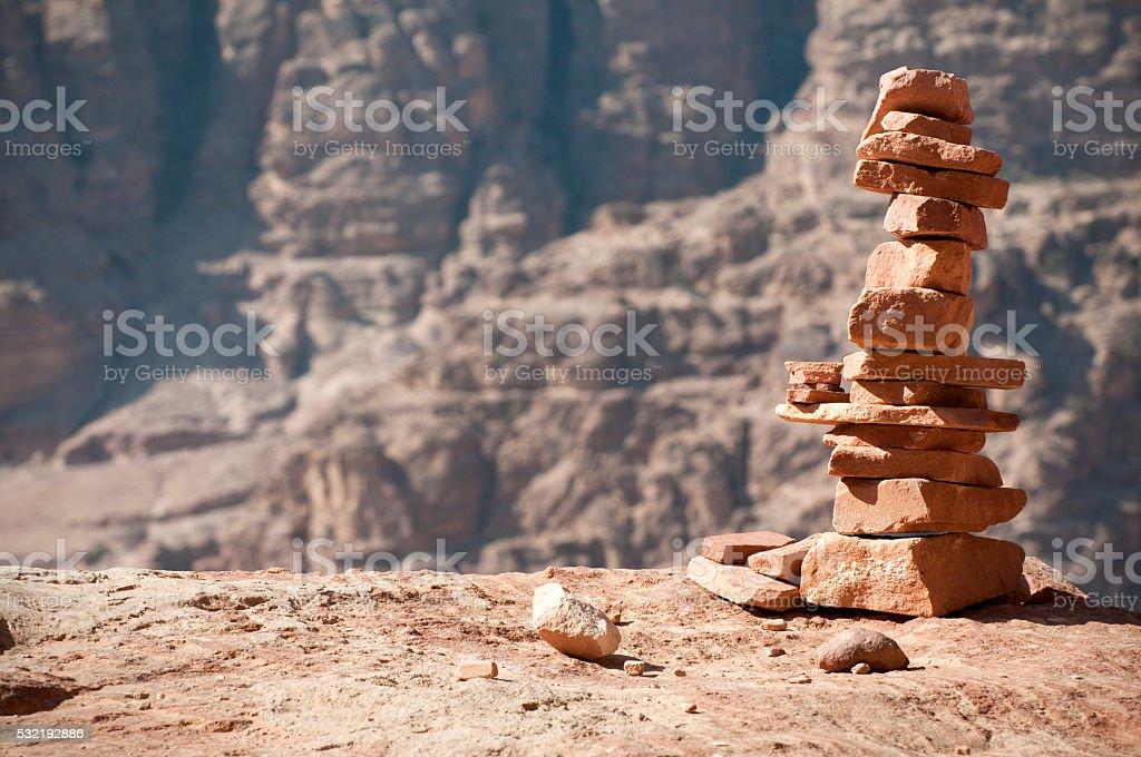 Stack of rocks in Petra, Jordan stock photo