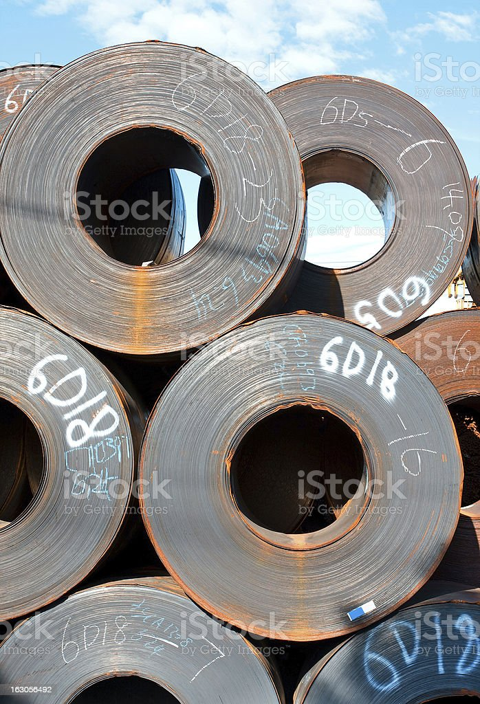 Stack of rolled steel royalty-free stock photo