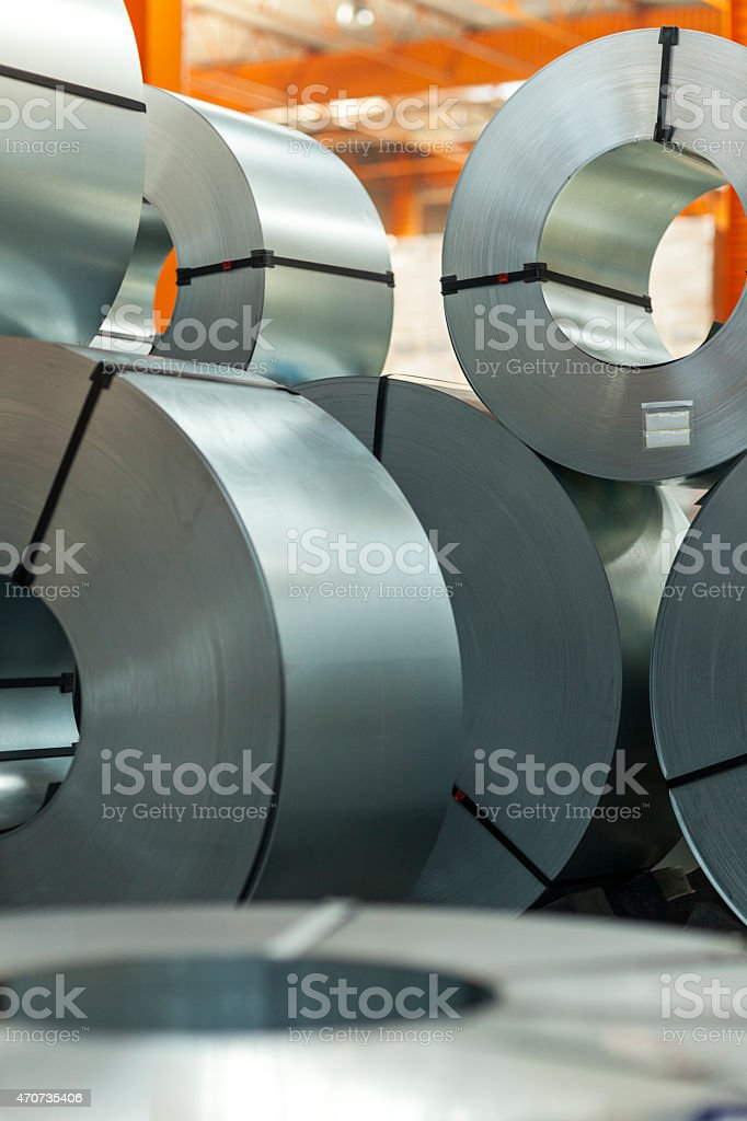 Stack Of Rolls Of Steel Sheet stock photo