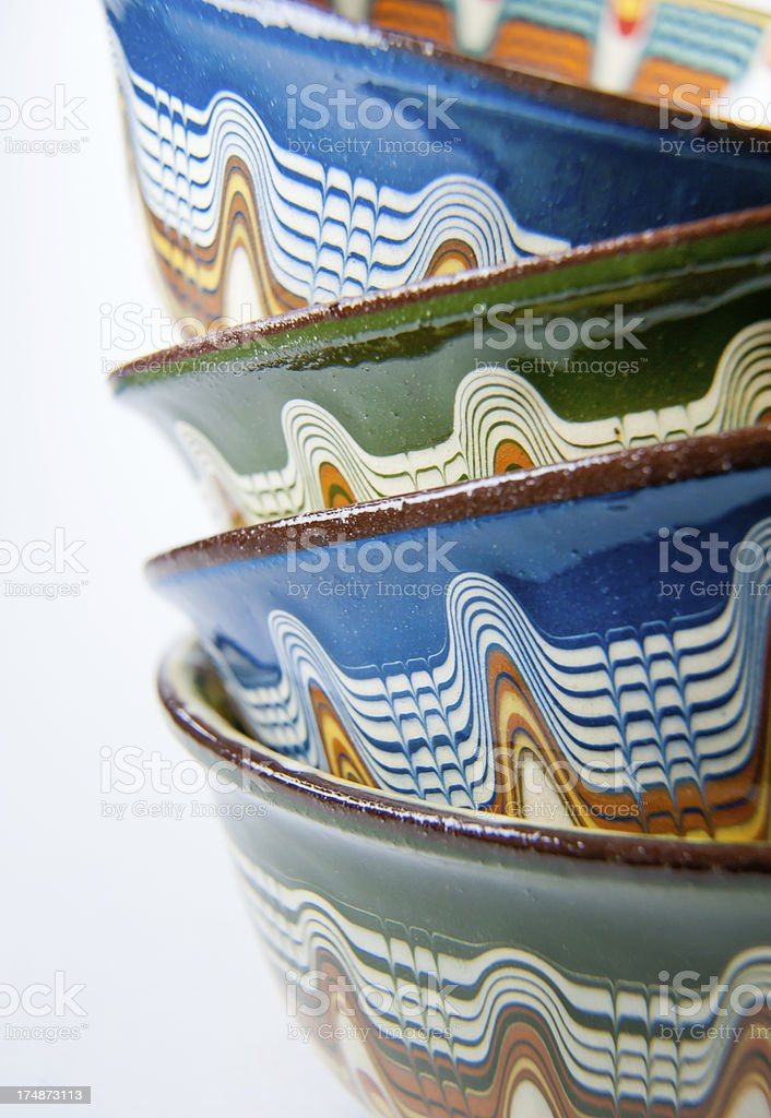 Stack of Romanian Bowls royalty-free stock photo