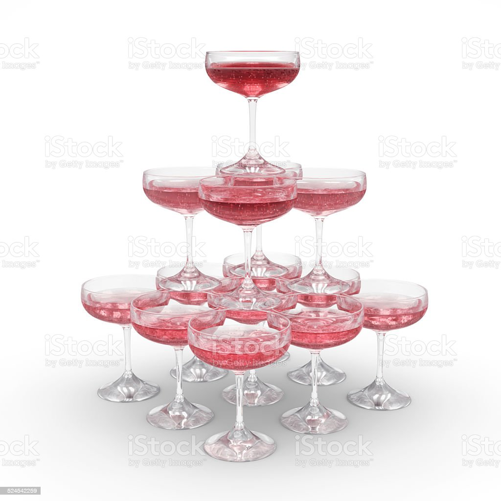 Stack of rose champagne glasses with clipping path stock photo