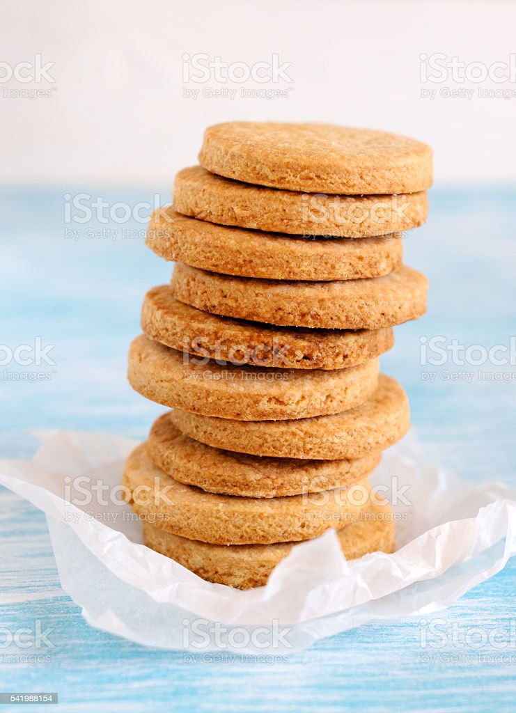 Stack of round shortbread biscuits stock photo