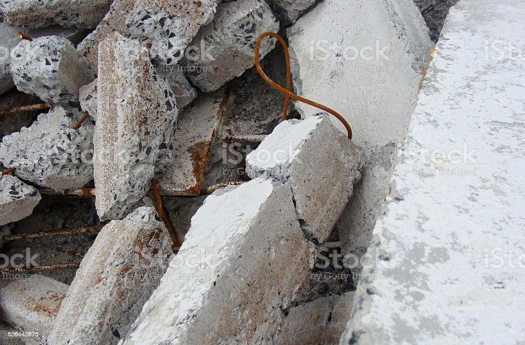 stack of rusty fortified concrete swith rust showing stock photo