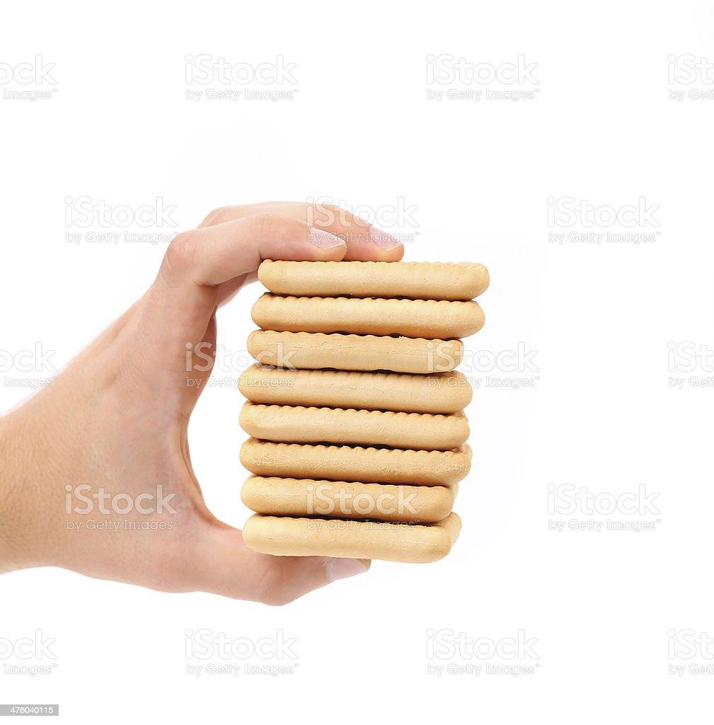 Stack of saltine soda crackers. royalty-free stock photo