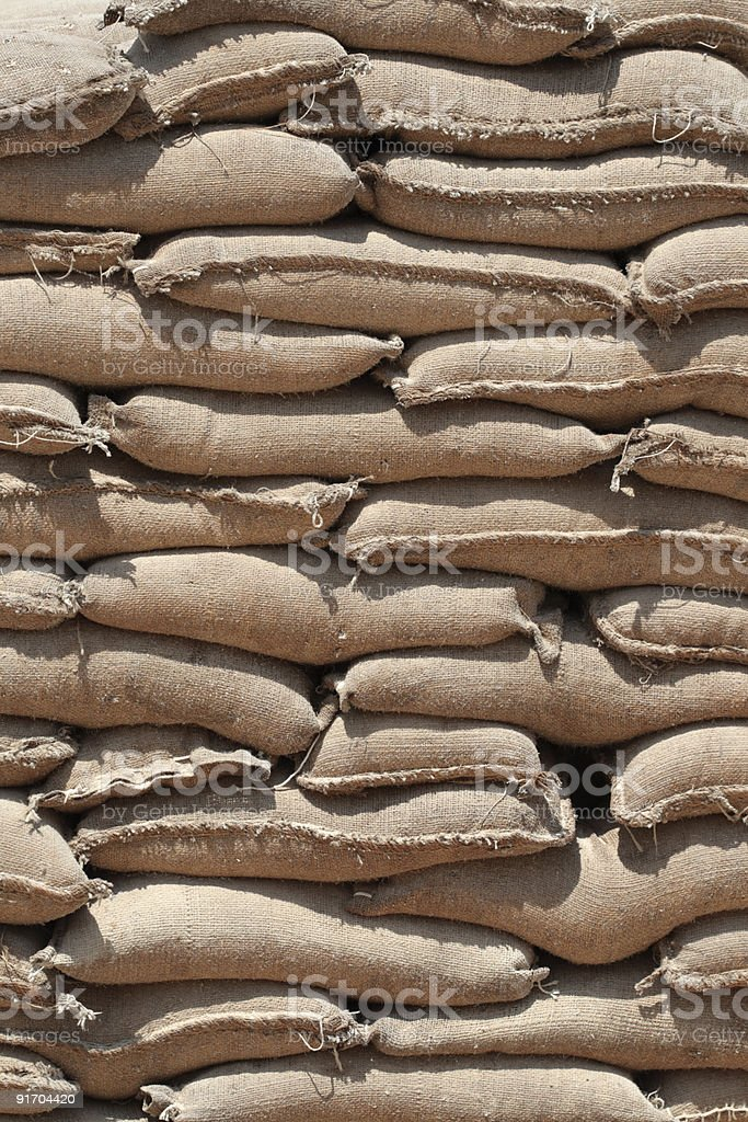 Stack of sandbags royalty-free stock photo