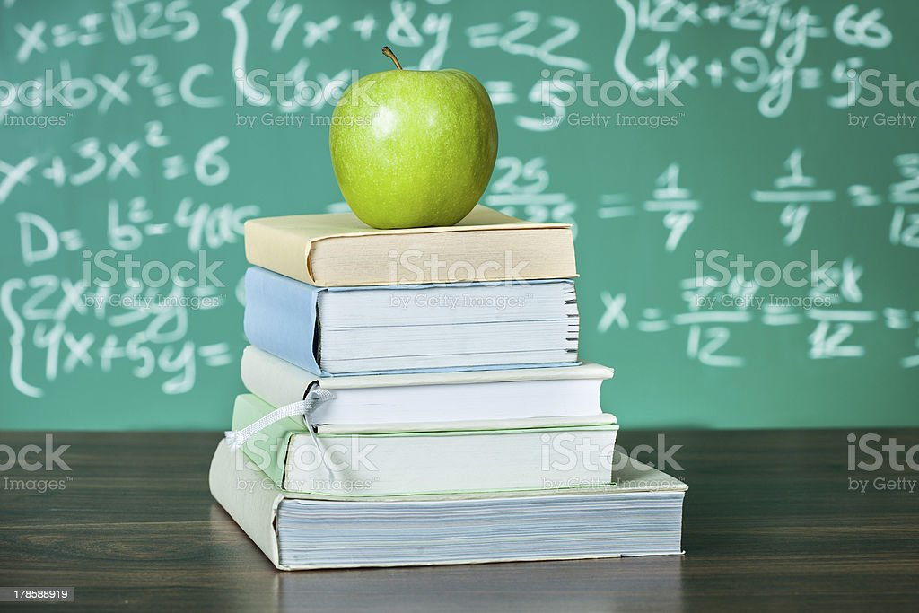 Stack of school textbooks royalty-free stock photo