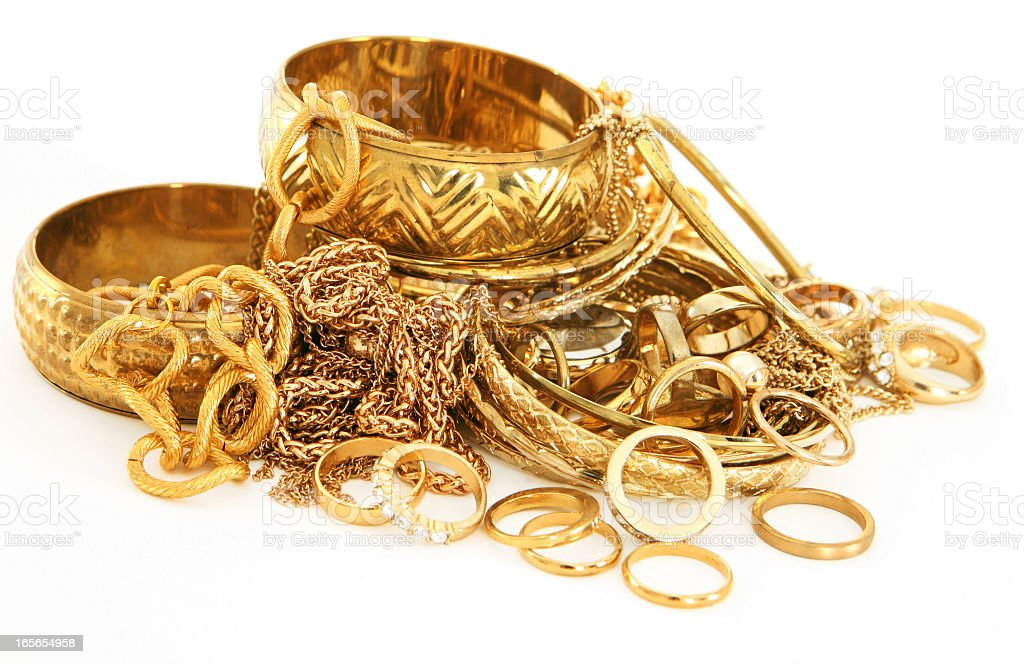 Stack of Scrap Gold stock photo