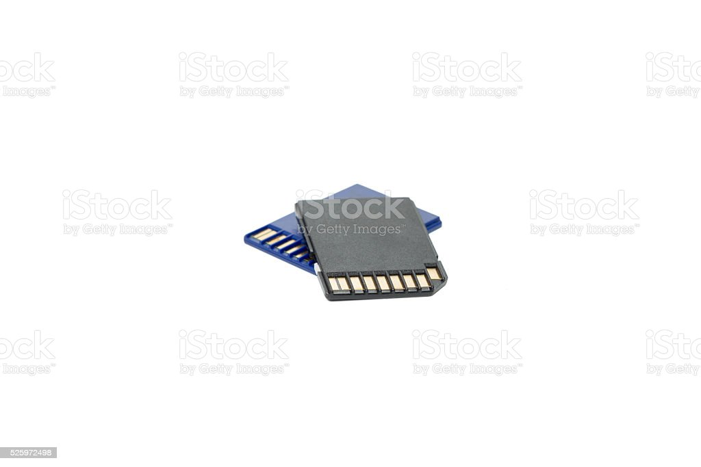 Stack of SD memory cards isolated on white stock photo
