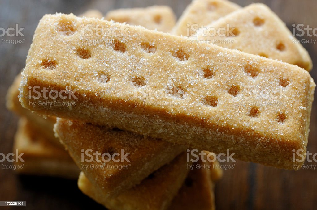 Stack of Shortbread biscuits from above stock photo