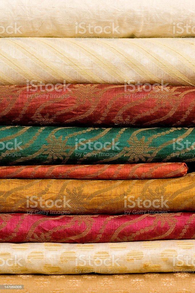Stack of silk fabrics royalty-free stock photo
