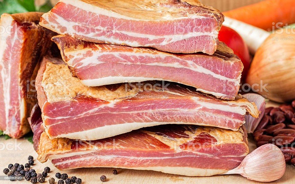 Stack of Smoked Pork Ribs stock photo