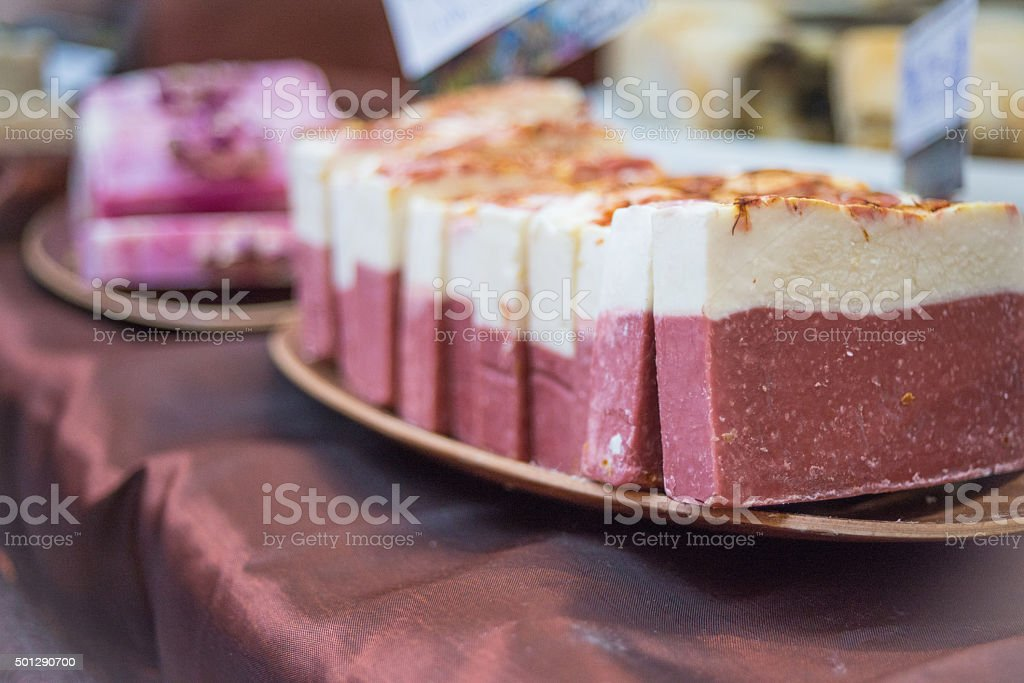 Stack of Soap Bars Made of Natural Ingredients stock photo