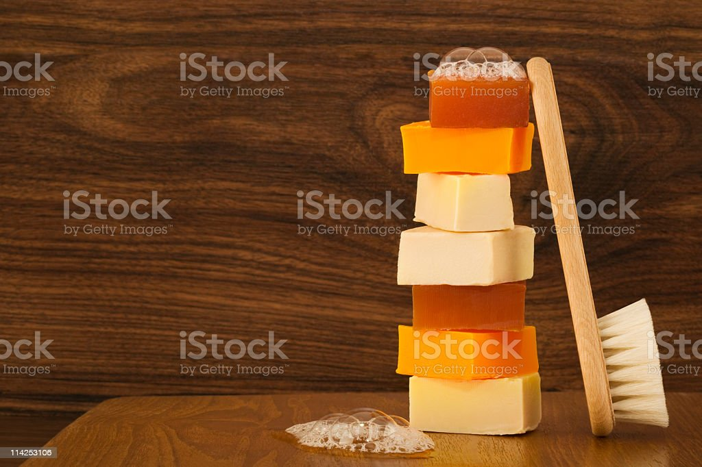 Stack of soap bars with brush (XXL) royalty-free stock photo