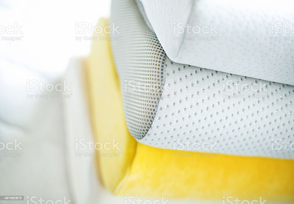 Stack of soft pillows. stock photo
