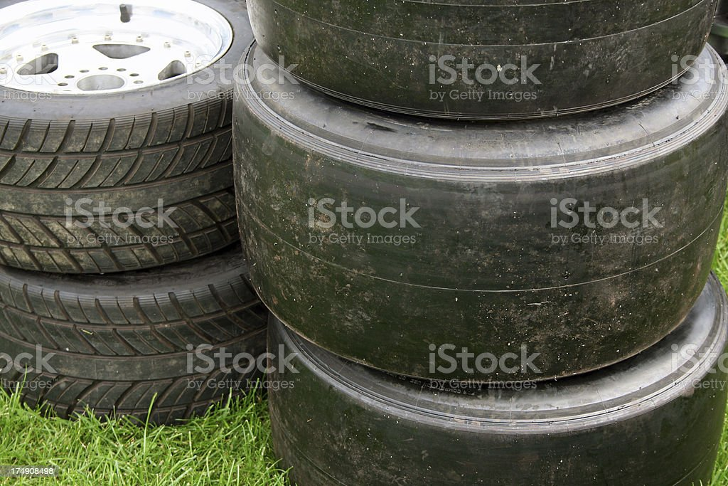 Stack of spare racing tires royalty-free stock photo