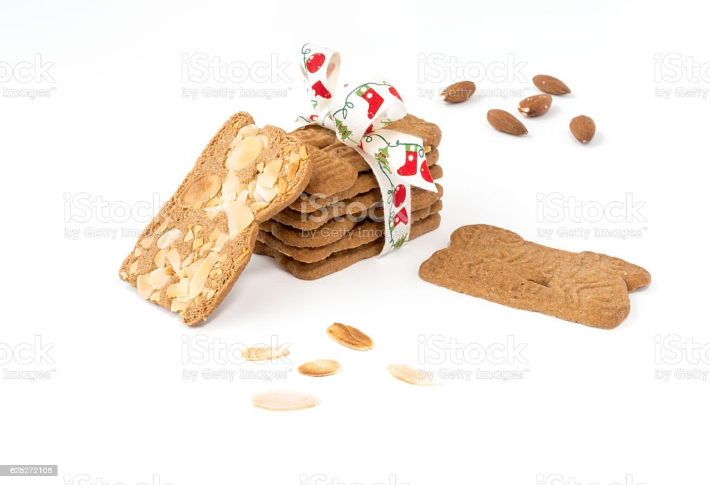 Stack of Spiced Biscuits with Almonds ( Spekulatius ) on White stock photo