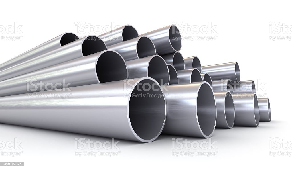 Stack of stainless steel pipes isolated on white stock photo