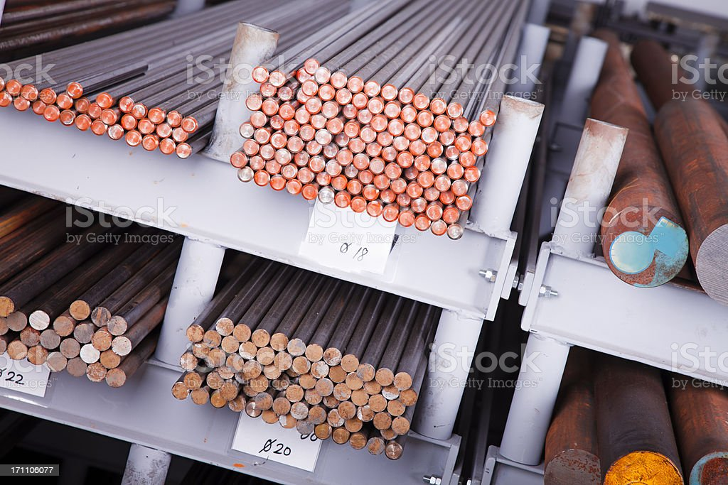 Stack of stainless steel rods background royalty-free stock photo
