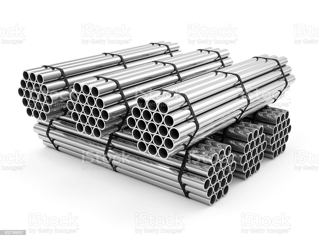 Stack of Steel Metal Tubes isolated on white background stock photo