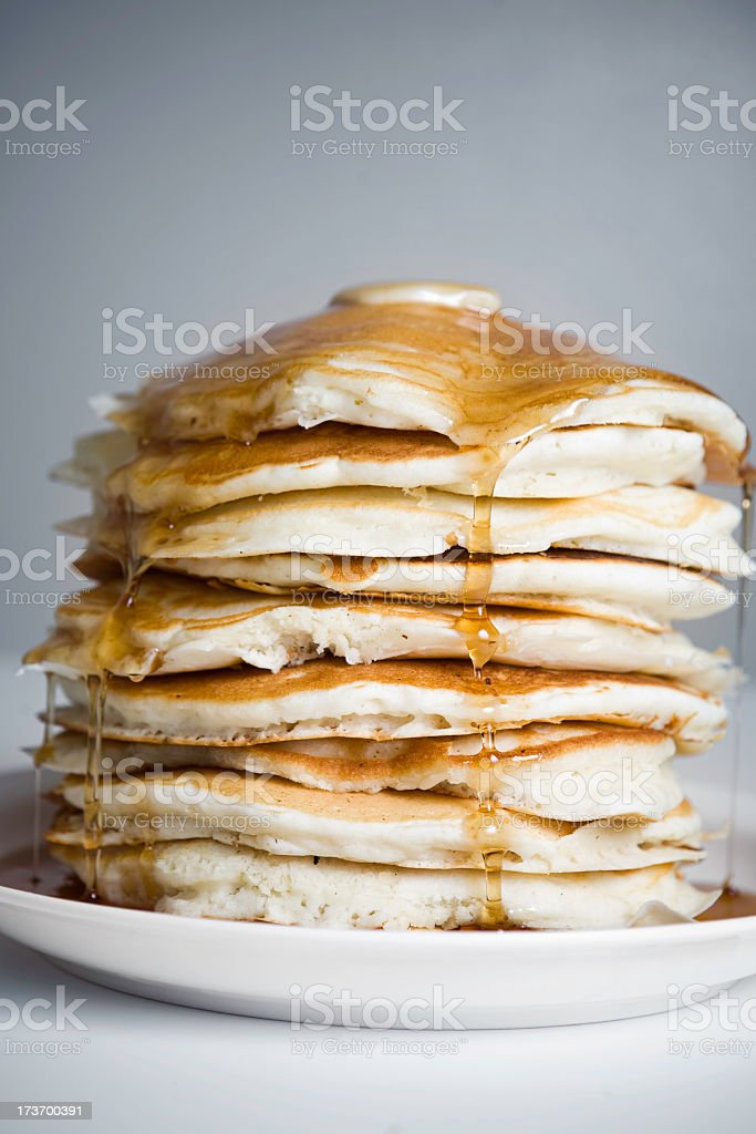 Stack of Sticky Pancakes with Butter and Syrup stock photo