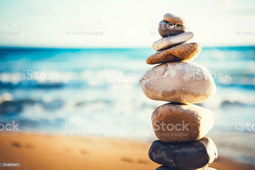 Stack Of Stones On The Beach stock photo