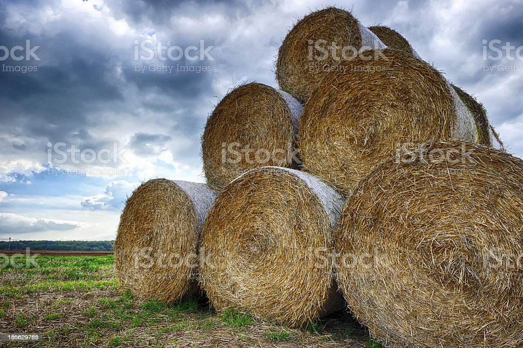 Stack of straw bales royalty-free stock photo