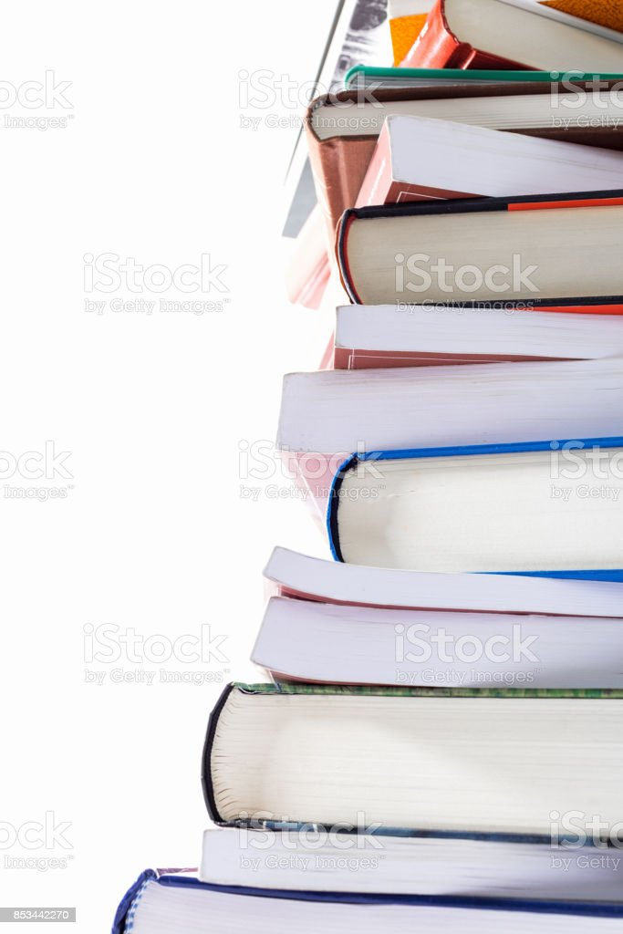 stack of study books stock photo