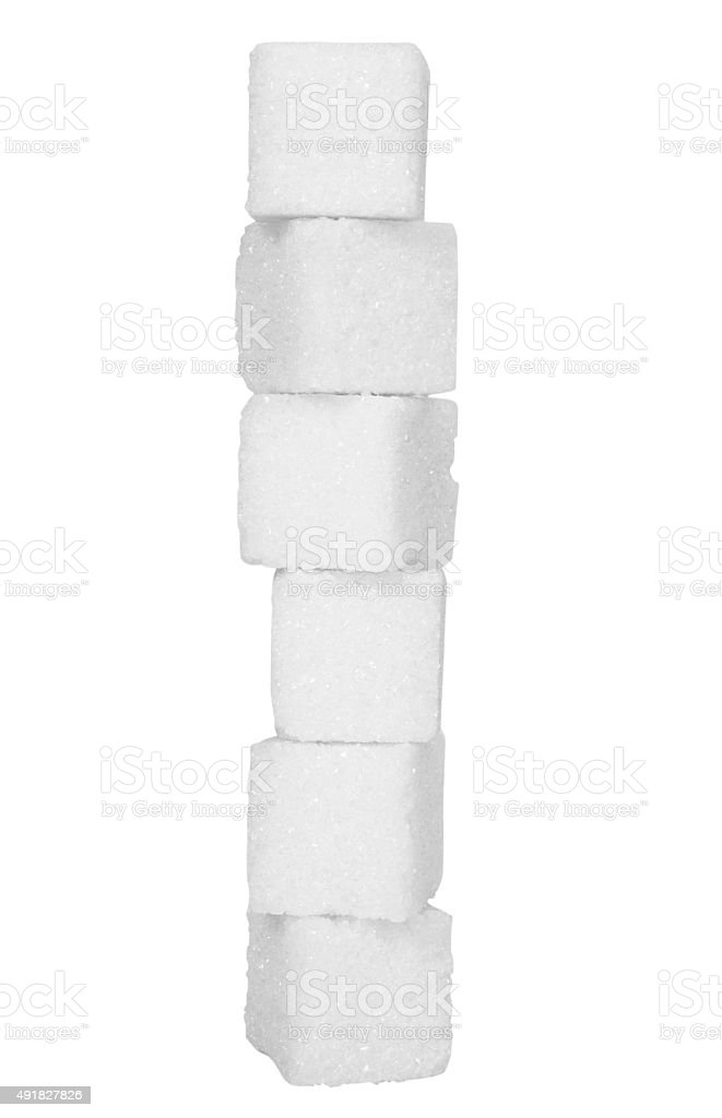Stack of sugar cubes stock photo