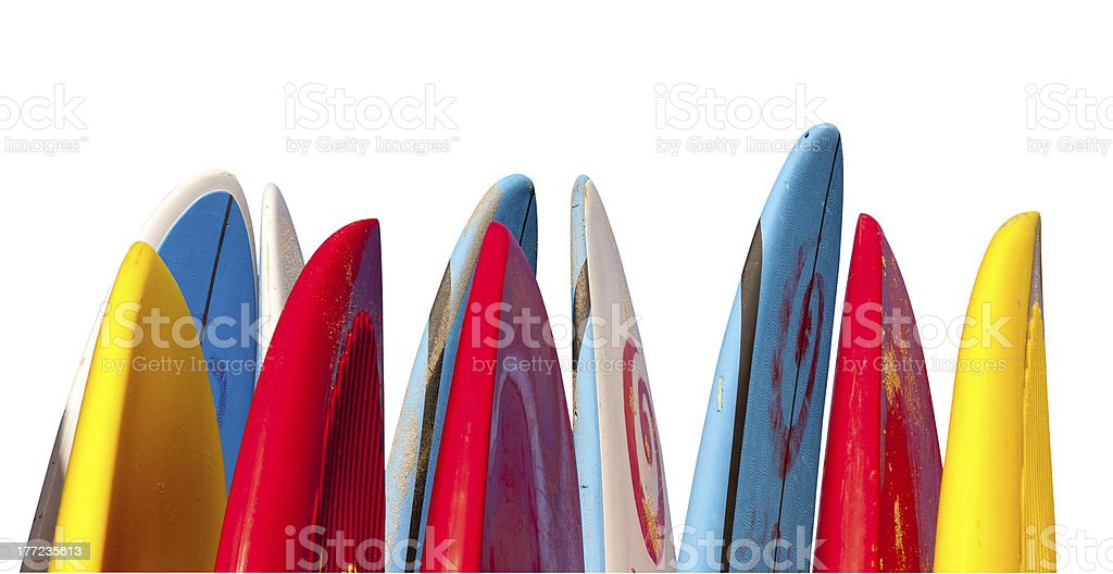 Stack of surfboards isolated stock photo