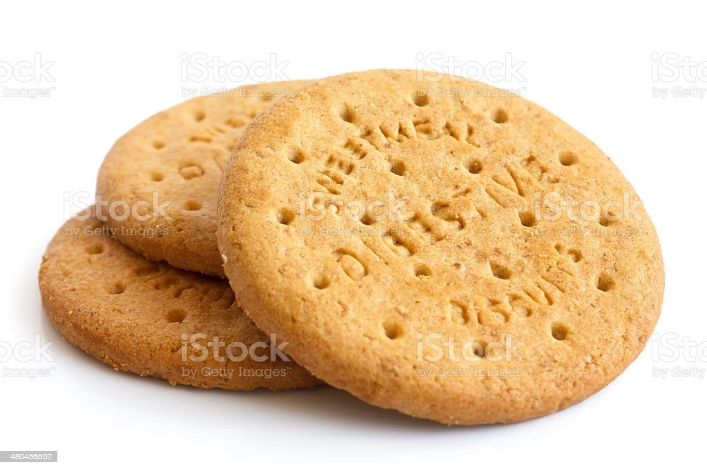 Stack of sweetmeal digestive biscuits isolated on white. stock photo