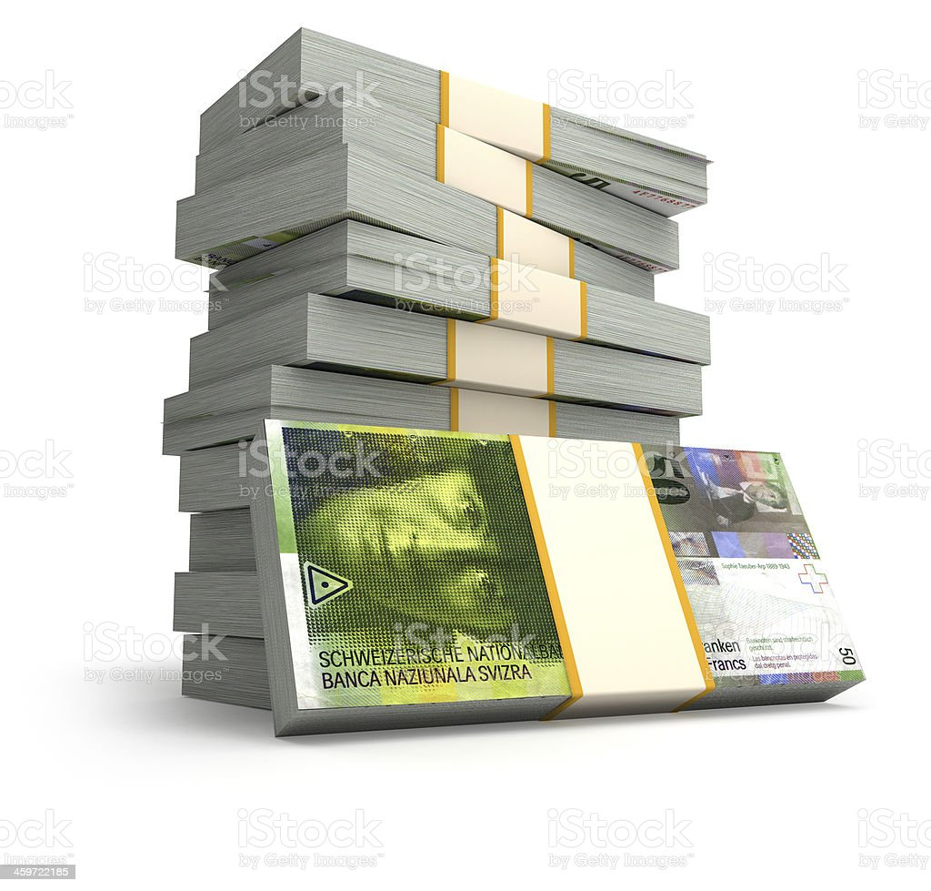 Stack of Swiss Franc bills stock photo