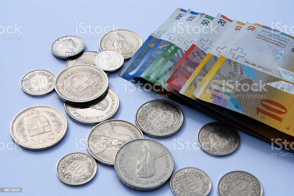 stack of Swiss franc notes and coins royalty-free stock photo
