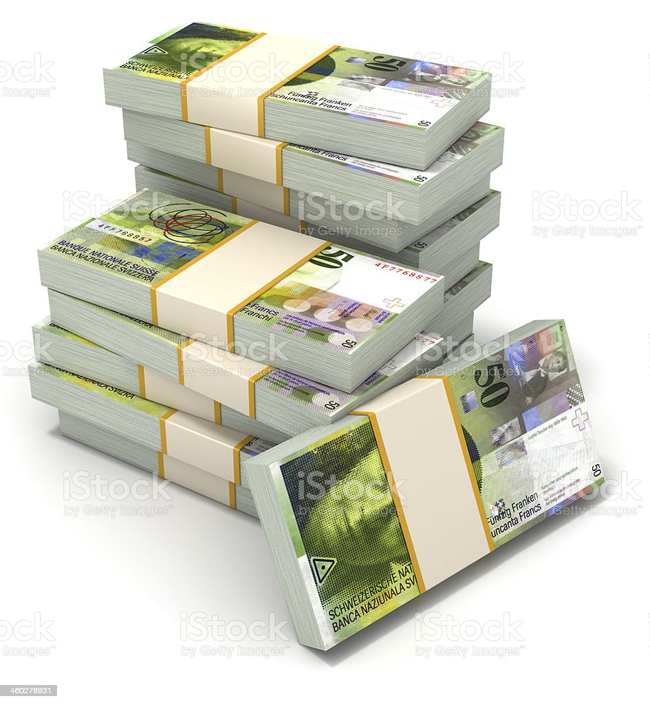 Stack of Swiss Francs royalty-free stock photo