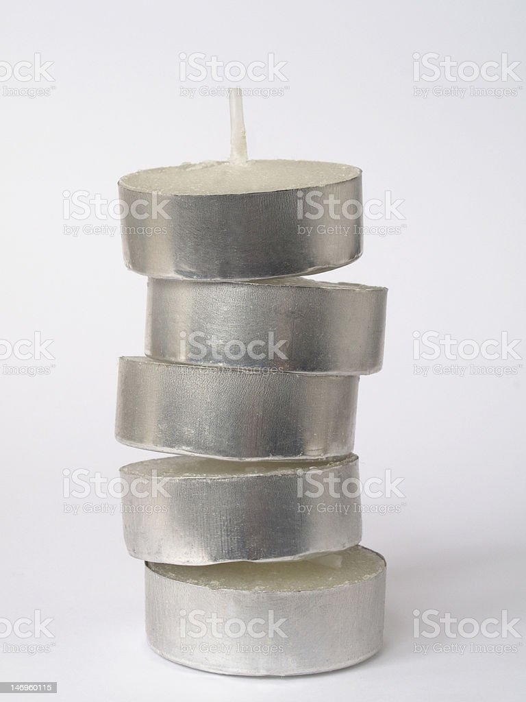 Stack of tealights. stock photo