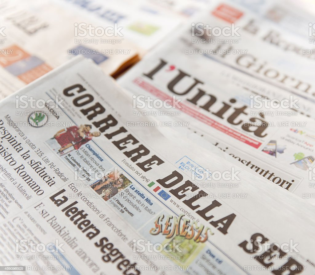 Stack of the most important italian newspaper stock photo