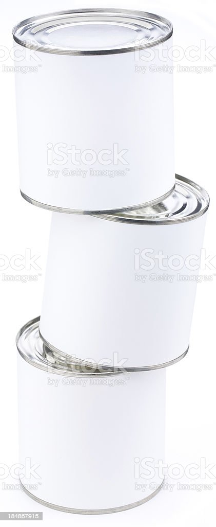 Stack of three blank tin cans royalty-free stock photo