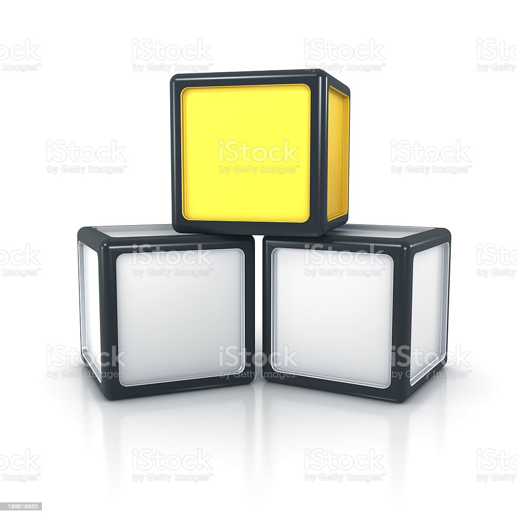 Stack of three blocks with one unique element royalty-free stock photo