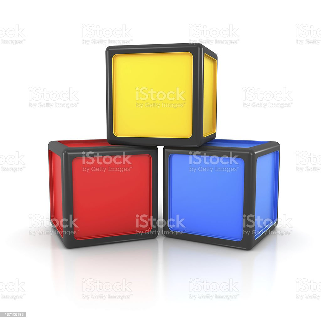 Stack of three colorful blocks royalty-free stock photo