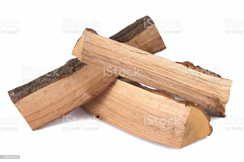 Stack of three cut logs with bark stock photo