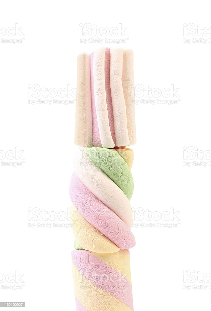 Stack of three different colorful marshmallow. stock photo