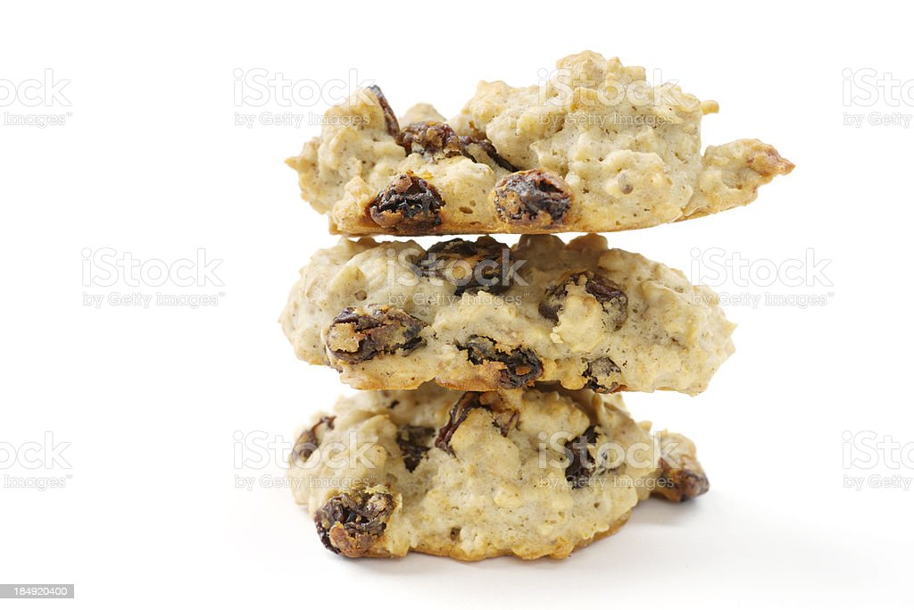 Stack of Three Oatmeal Raisin Cookies Isolated on White stock photo